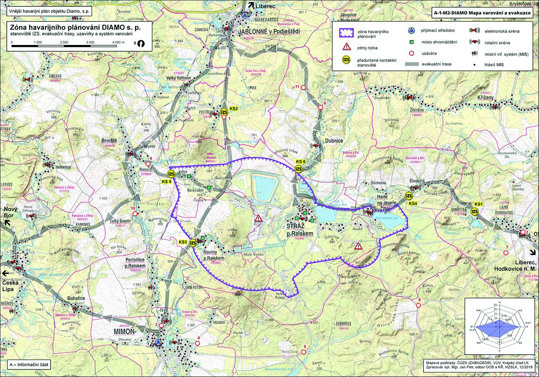 Obr. 2 Stanoviště IZS, evakuační trasy, uzavírky a systém varování